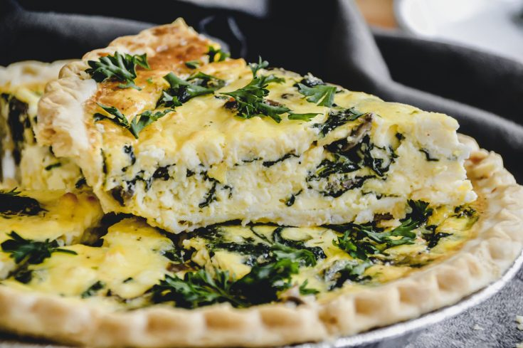 Spinach, Mushroom, and Feta Quiche