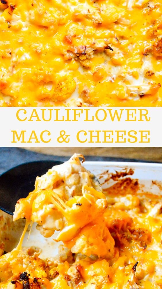 The ultimate Low Carb Comfort Food!! Cauliflower Mac and Cheese is so cheesy and is the most comforting perfect dish minus the pasta!