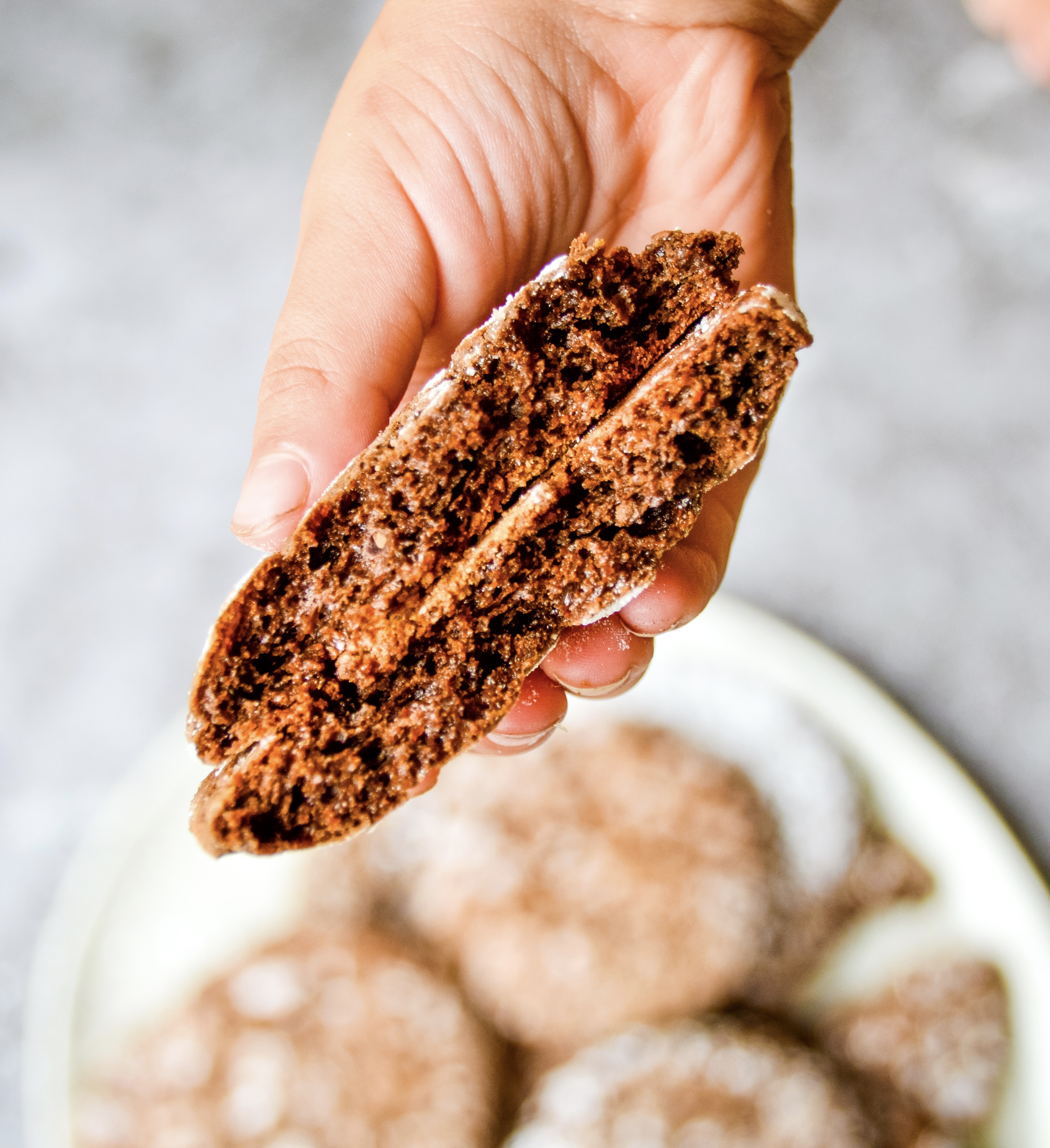 inside chocolate crinkle cookie