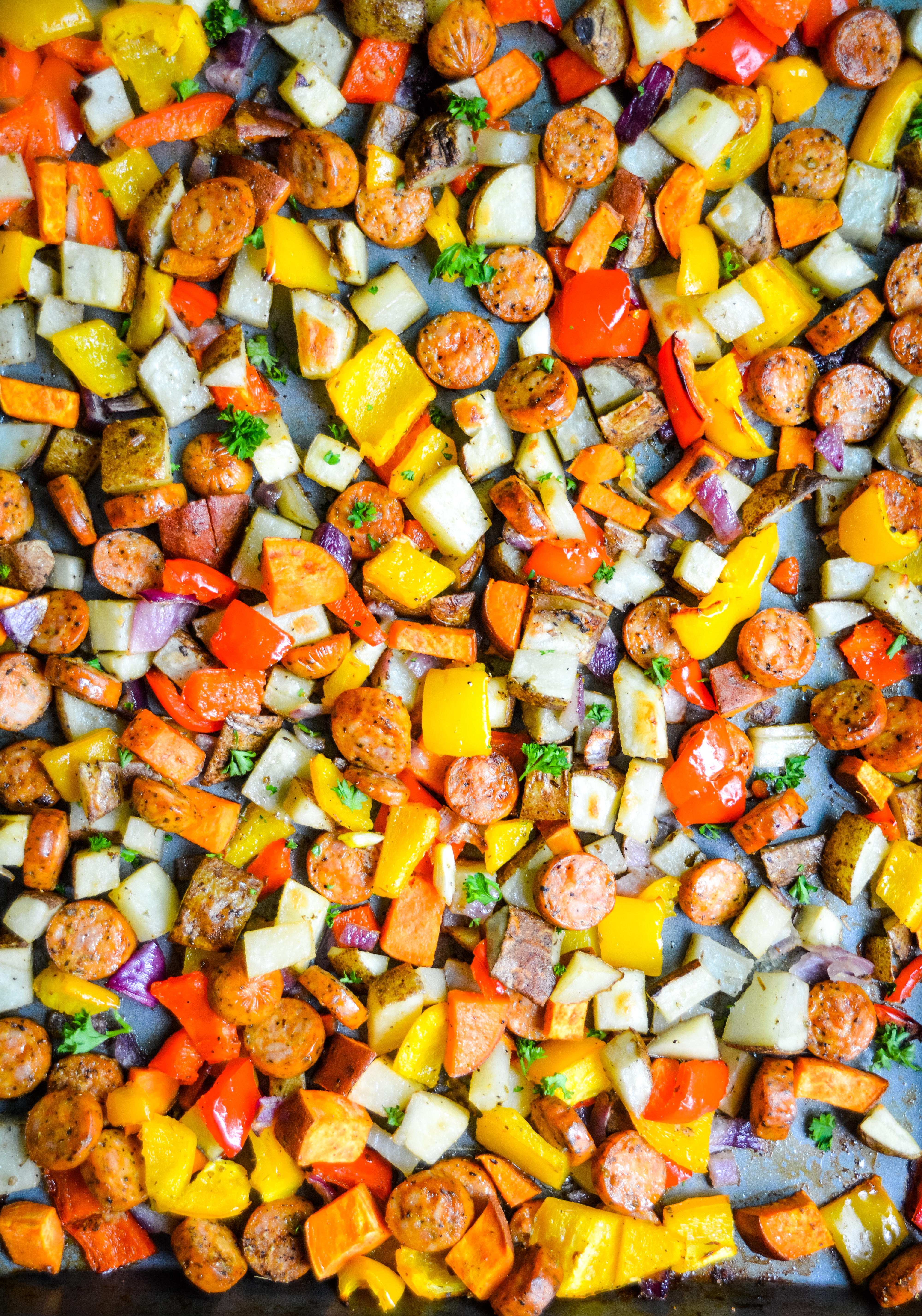 Sheet Pan Roasted Sausage, Peppers & Potatoes