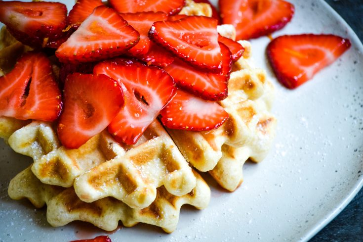 Healthy Waffles with Strawberry Topping