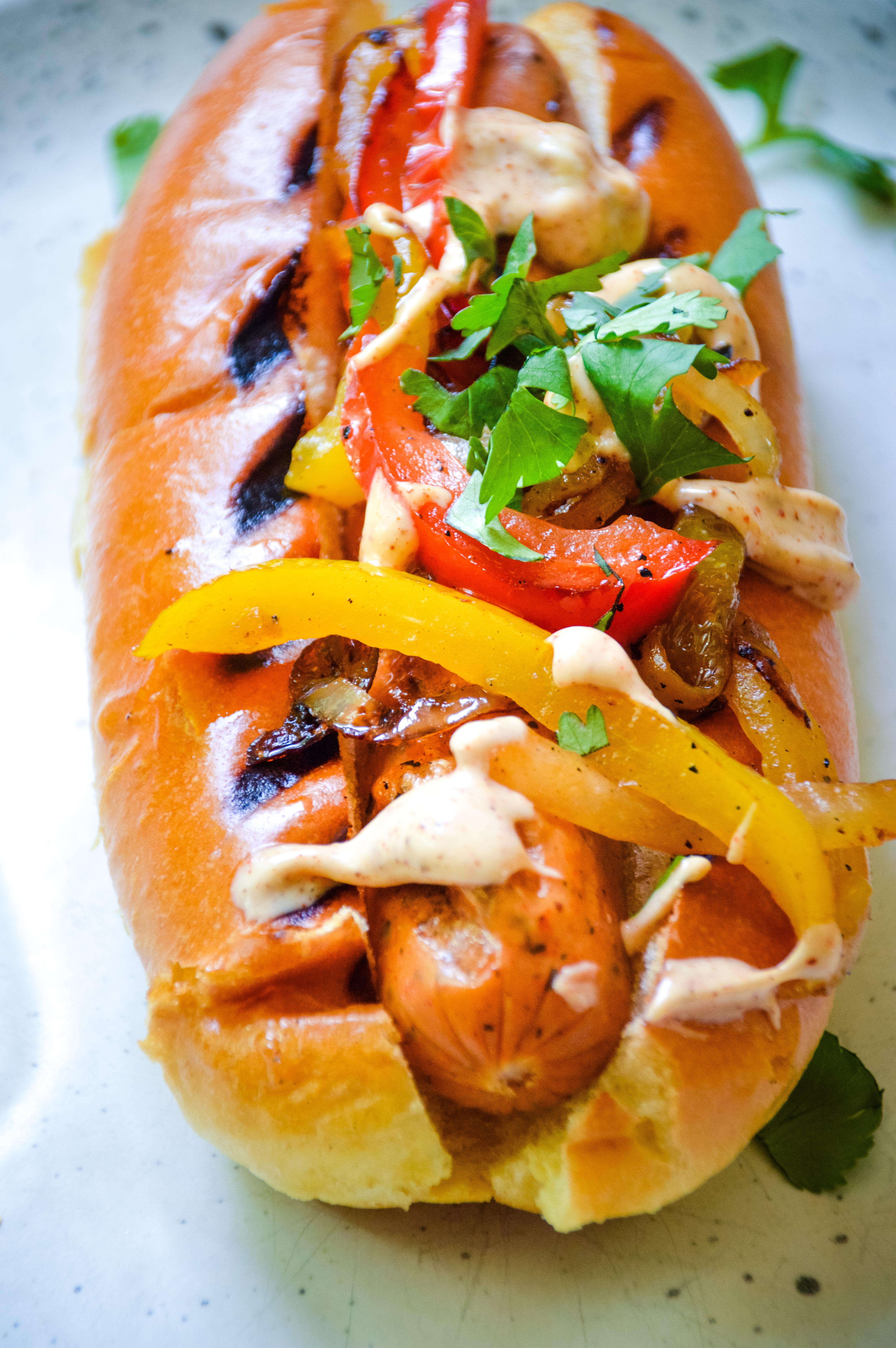 Sausage and Pepper Dogs with Chipotle Aioli