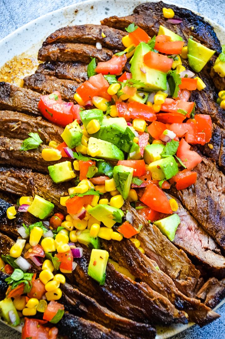 flank steak and avocado salsa