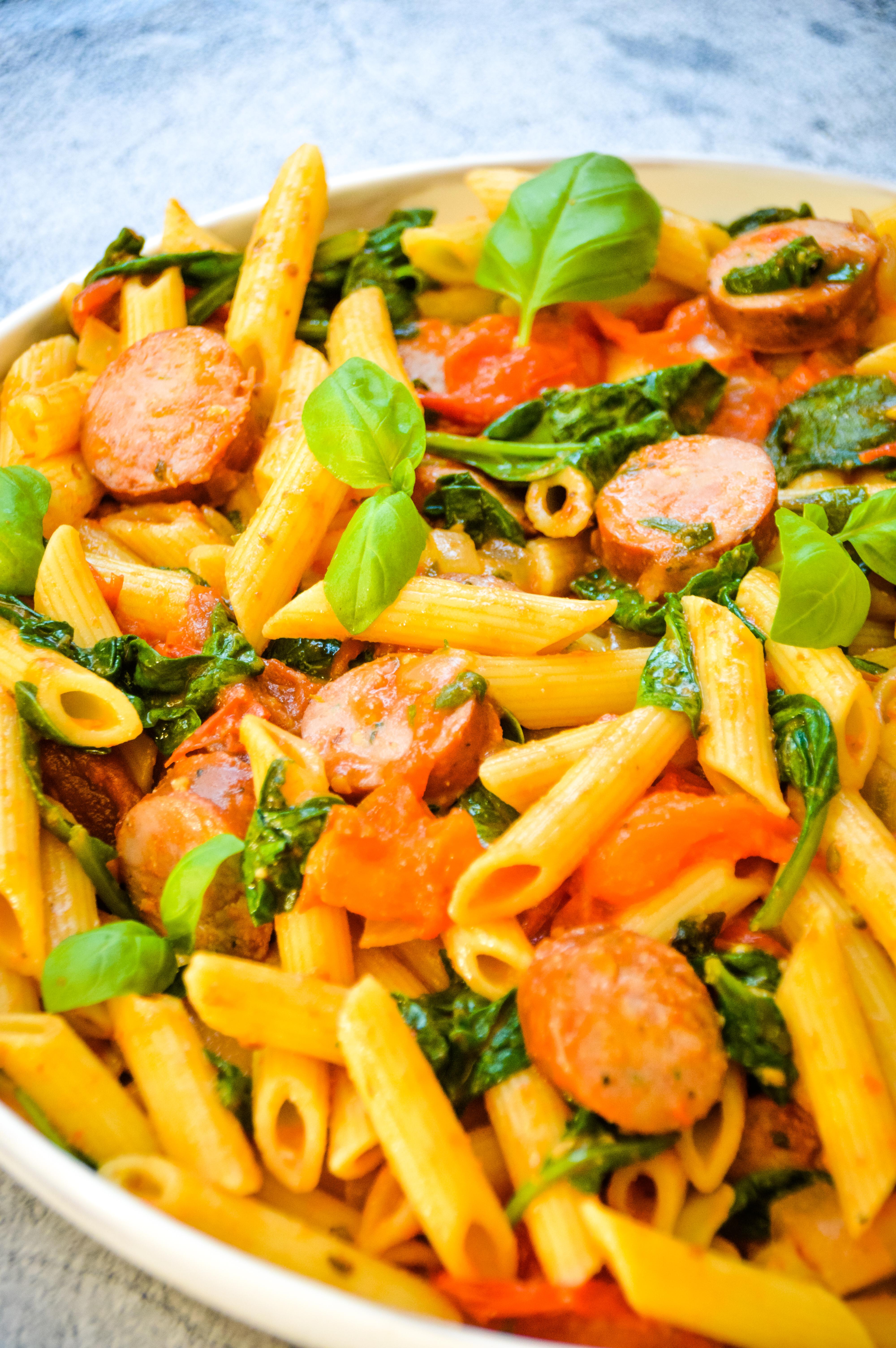 Easy Tomato Spinach & Sausage Pasta