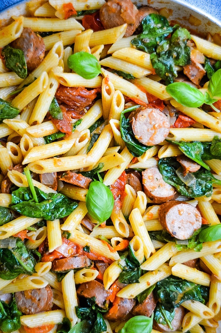 Tomato Spinach & Sausage Pasta