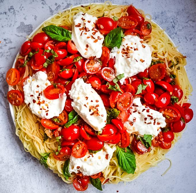 Bruschetta Pasta with Burrata