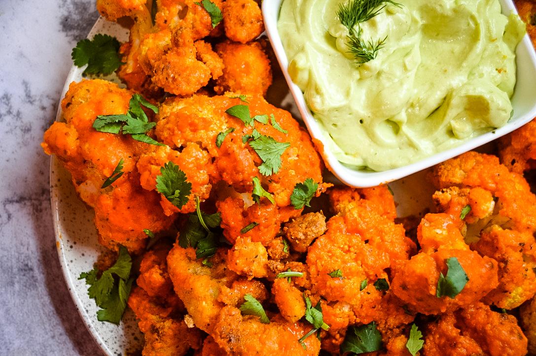Buffalo Cauliflower Bites and Avocado Dip
