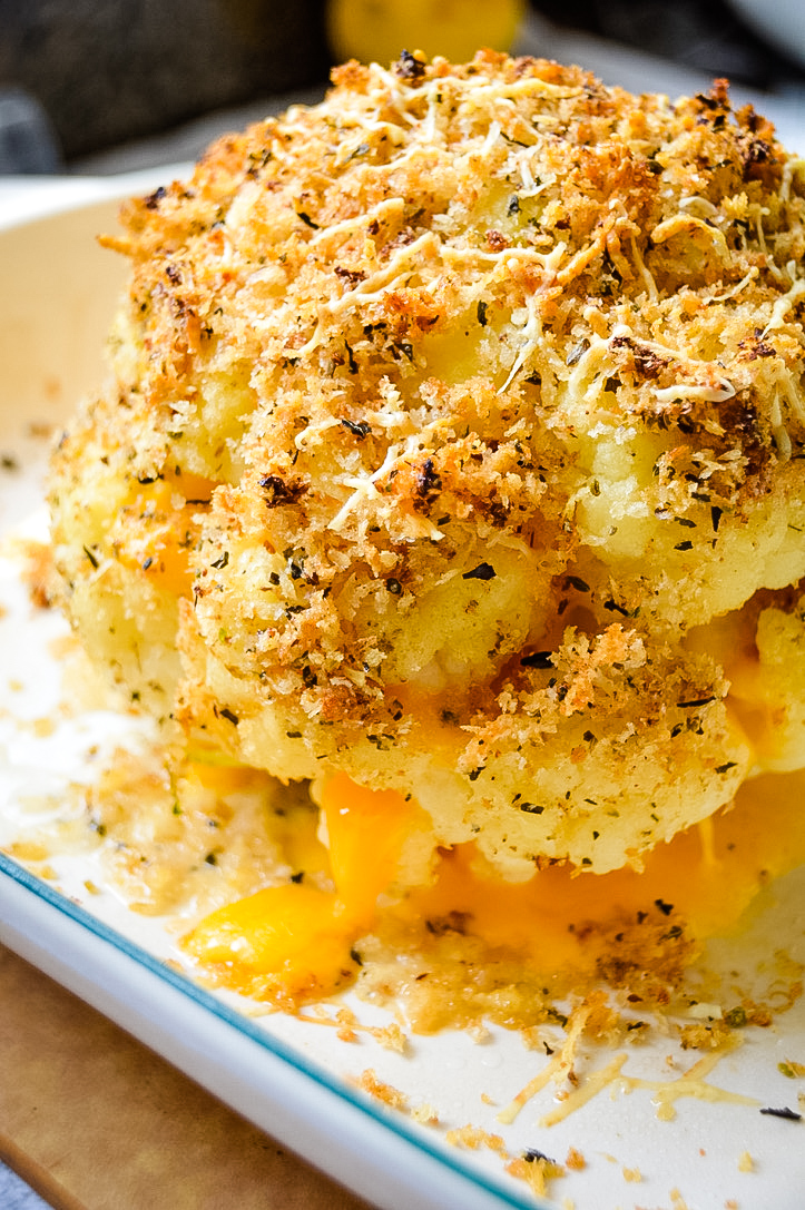 Cheddar Cheese Stuffed Cauliflower