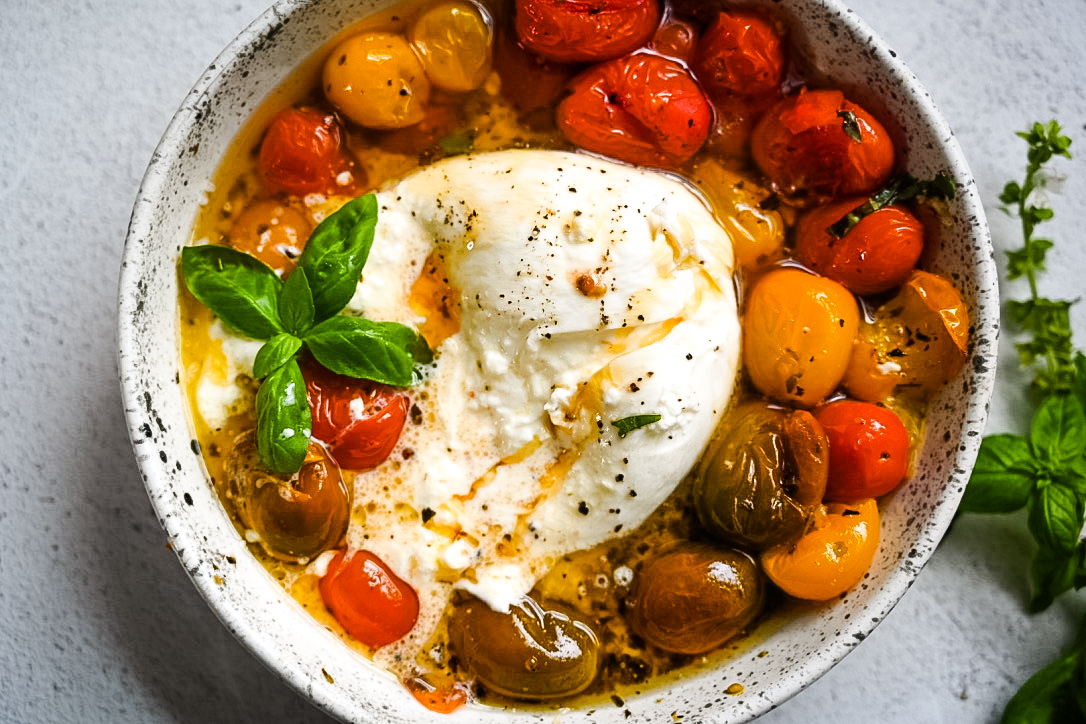 Oven Roasted Tomatoes & Burrata with Hot Honey